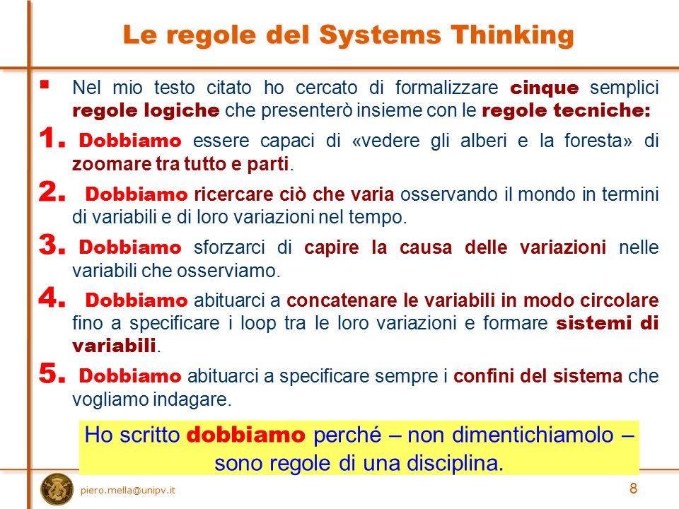Le regole del Systems Thinking