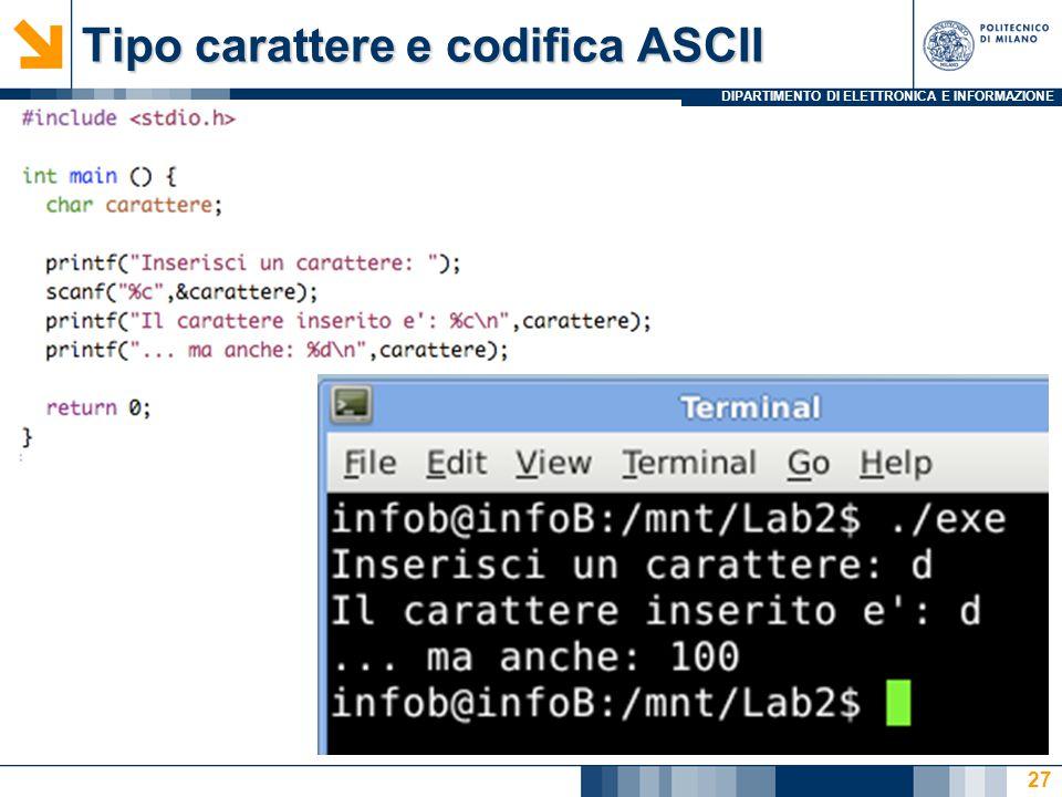 Tipo carattere e codifica ASCII