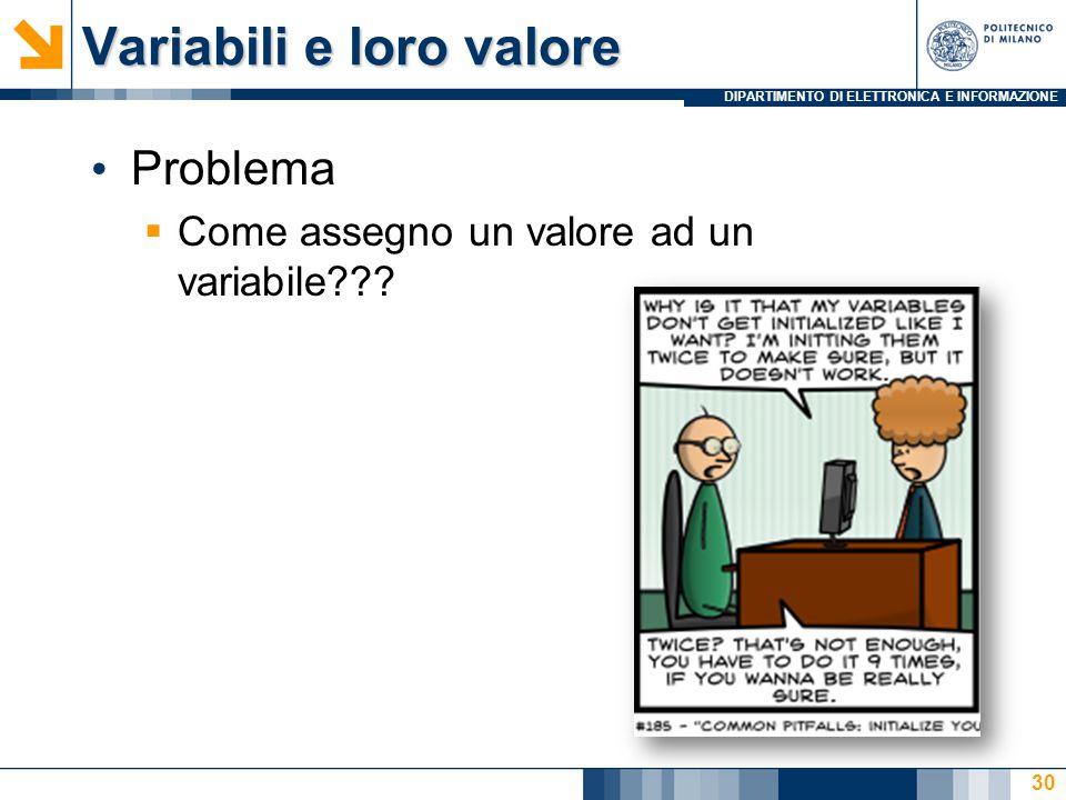 Variabili e loro valore