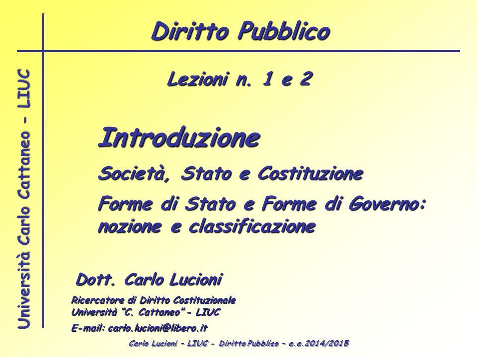 Introduzione Diritto Pubblico Lezioni n. 1 e 2