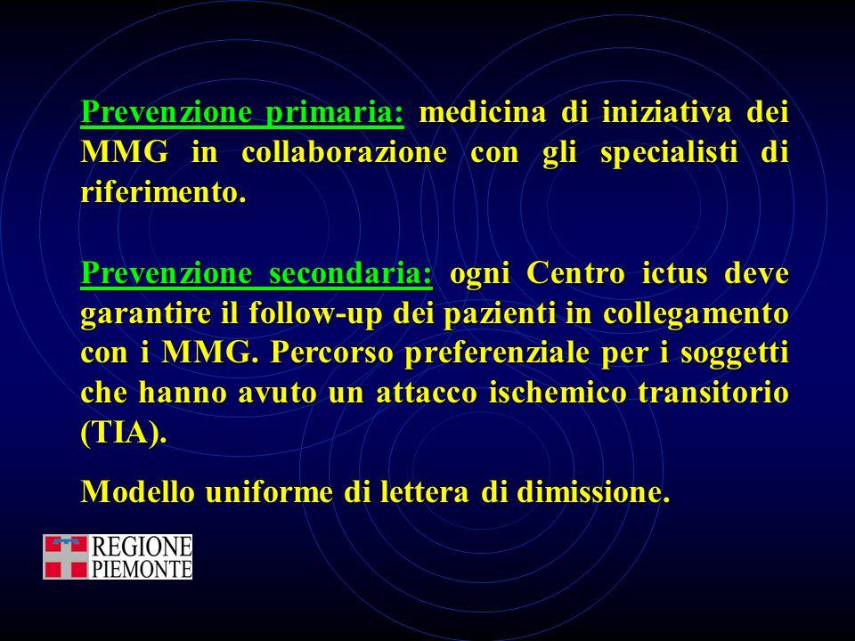 Prevenzione primaria: medicina di iniziativa dei MMG in collaborazione con gli specialisti di riferimento.