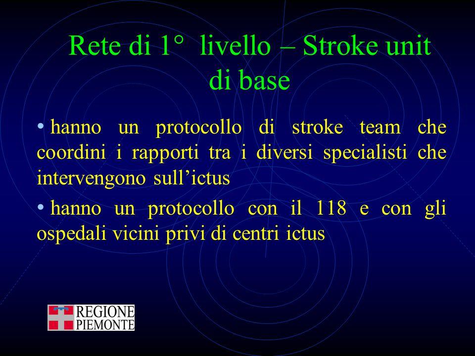 Rete di 1° livello – Stroke unit di base