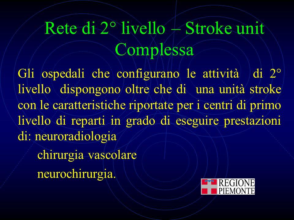 Rete di 2° livello – Stroke unit Complessa