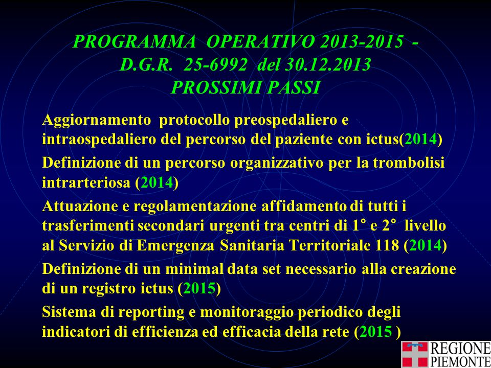 PROGRAMMA OPERATIVO 2013-2015 - D. G. R. 25-6992 del 30. 12