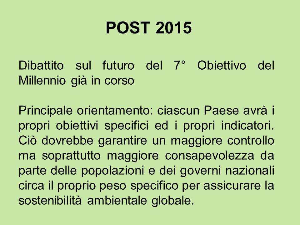 POST 2015 Dibattito sul futuro del 7° Obiettivo del Millennio già in corso.