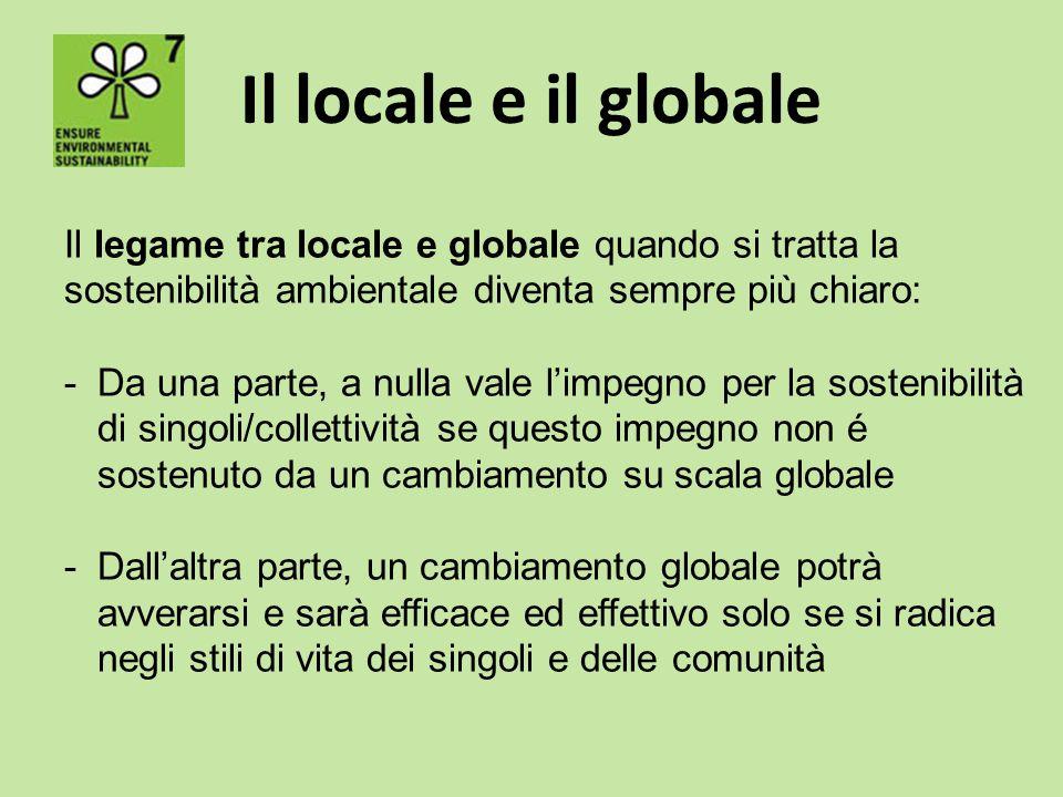 Il locale e il globale Il legame tra locale e globale quando si tratta la sostenibilità ambientale diventa sempre più chiaro: