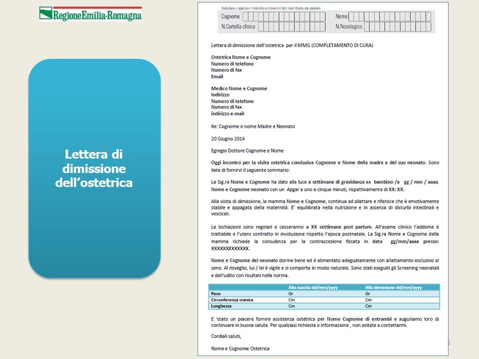 Lettera di dimissione dell'ostetrica