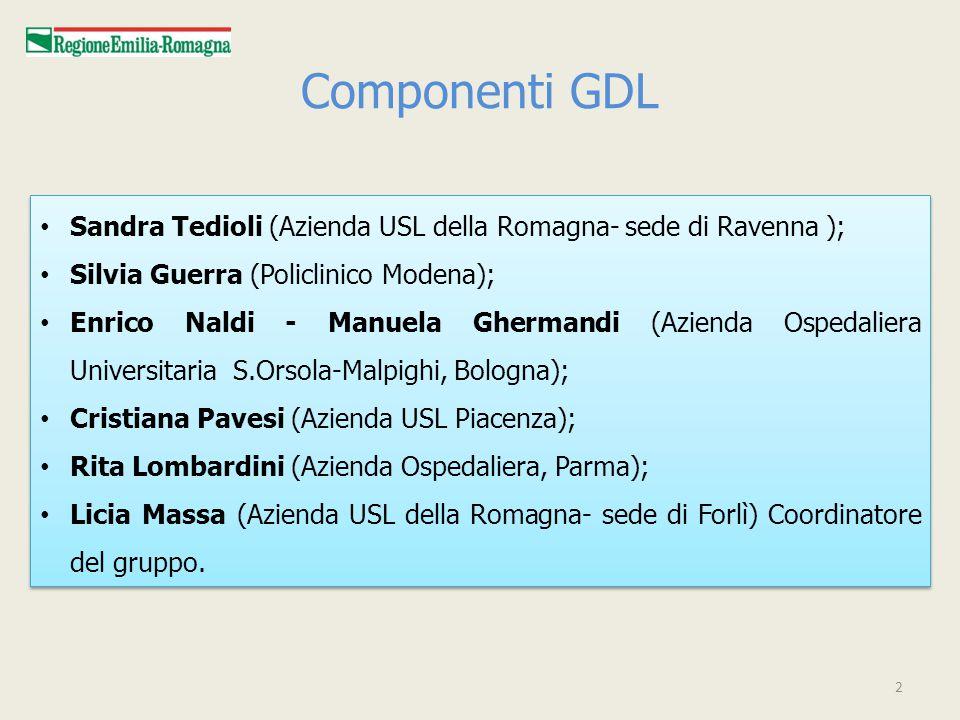 Componenti GDL Sandra Tedioli (Azienda USL della Romagna- sede di Ravenna ); Silvia Guerra (Policlinico Modena);