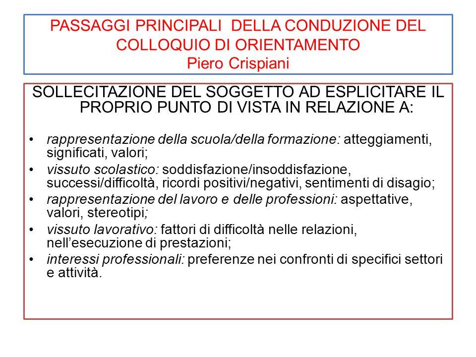 Passaggi principali della conduzione del colloquio di orientamento Piero Crispiani