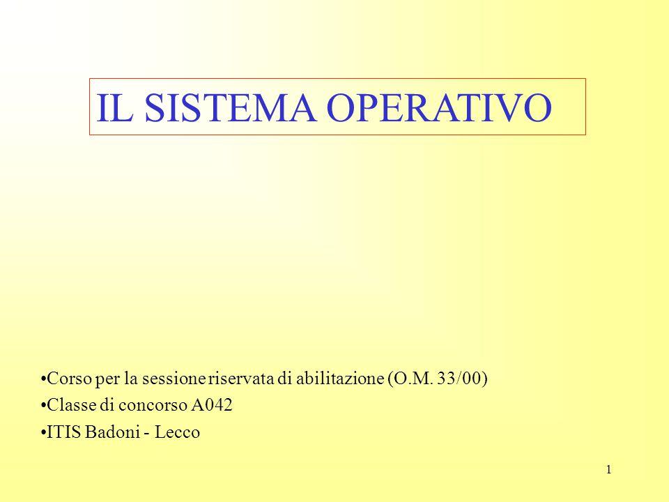 IL SISTEMA OPERATIVO Corso per la sessione riservata di abilitazione (O.M. 33/00) Classe di concorso A042.