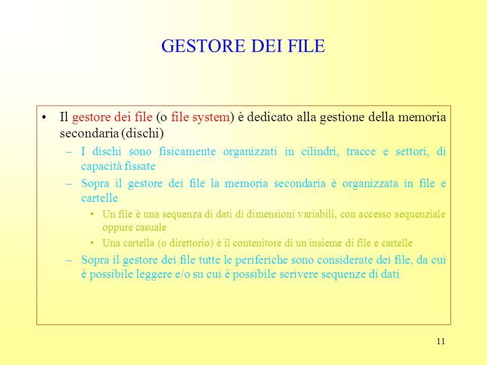 GESTORE DEI FILE Il gestore dei file (o file system) è dedicato alla gestione della memoria secondaria (dischi)