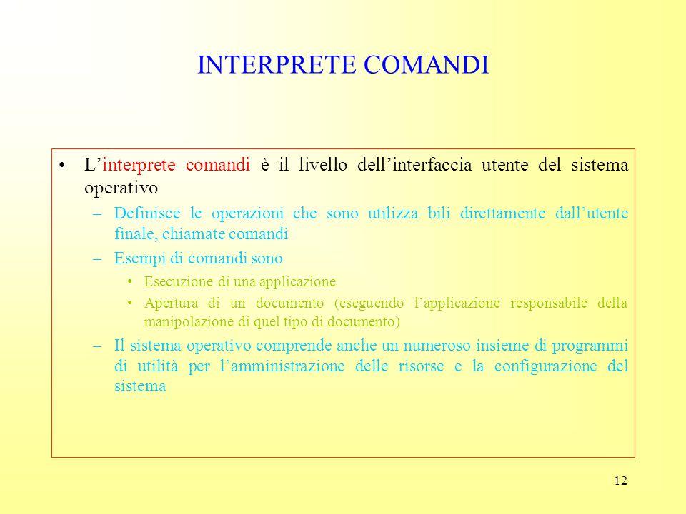 INTERPRETE COMANDI L'interprete comandi è il livello dell'interfaccia utente del sistema operativo.