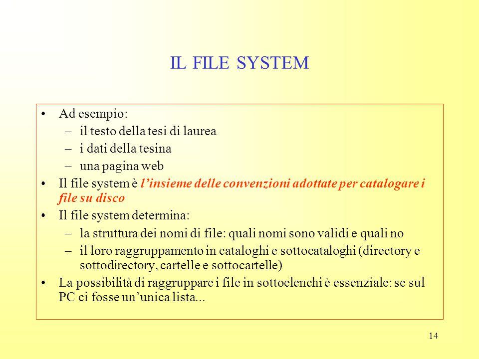 IL FILE SYSTEM Ad esempio: il testo della tesi di laurea