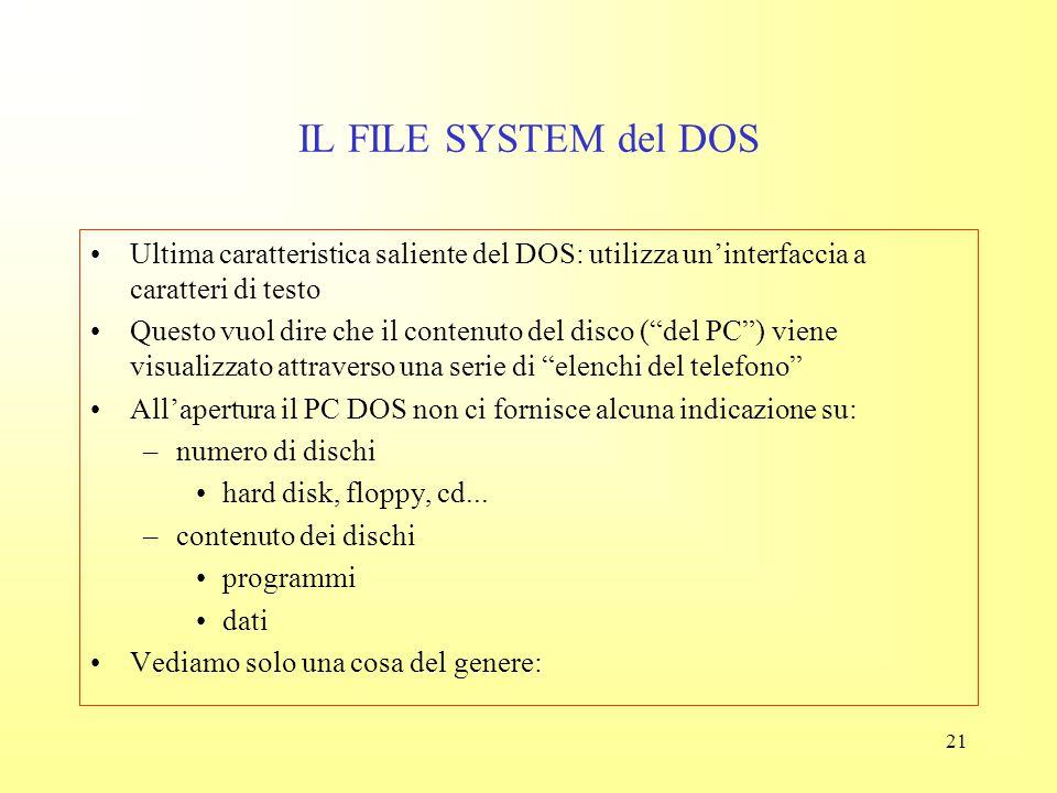 IL FILE SYSTEM del DOS Ultima caratteristica saliente del DOS: utilizza un'interfaccia a caratteri di testo.