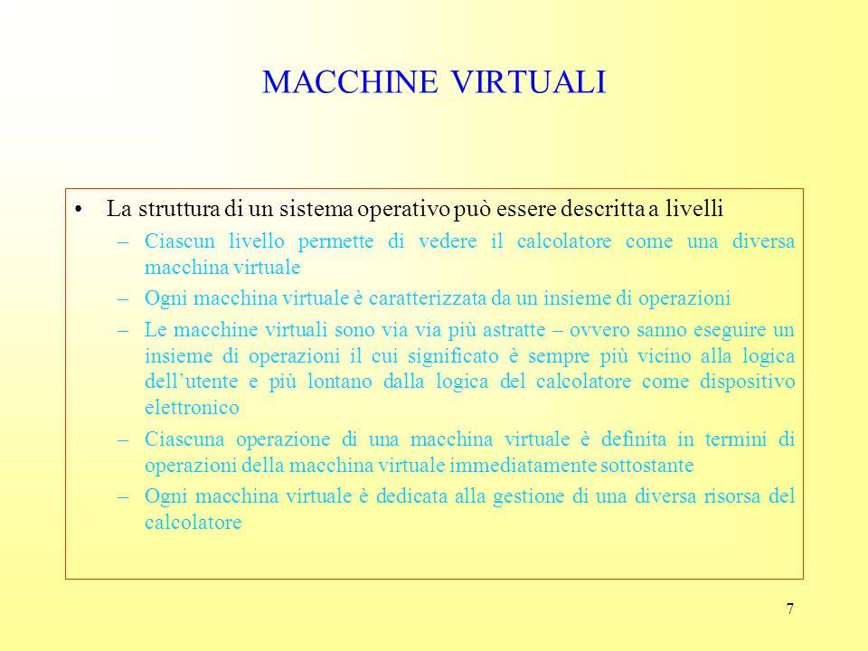 MACCHINE VIRTUALI La struttura di un sistema operativo può essere descritta a livelli.