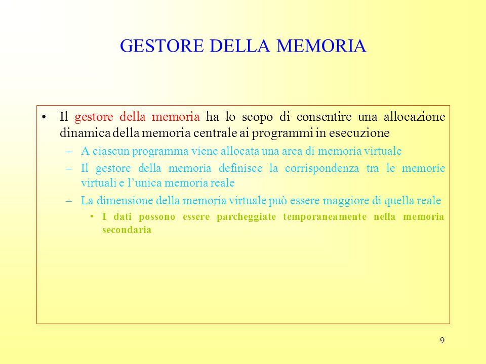 GESTORE DELLA MEMORIA Il gestore della memoria ha lo scopo di consentire una allocazione dinamica della memoria centrale ai programmi in esecuzione.
