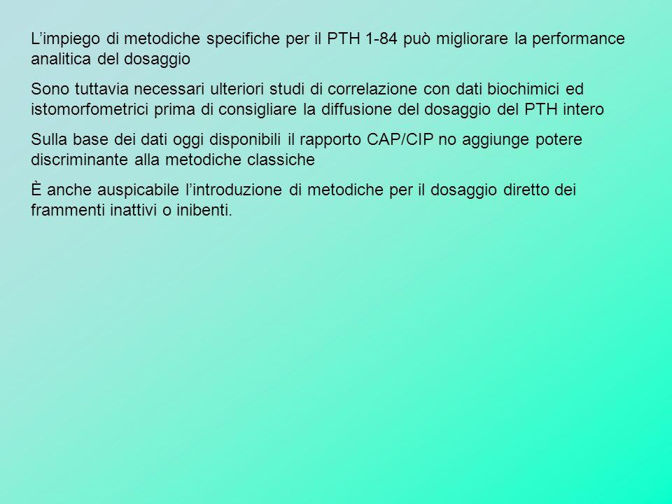 L'impiego di metodiche specifiche per il PTH 1-84 può migliorare la performance analitica del dosaggio