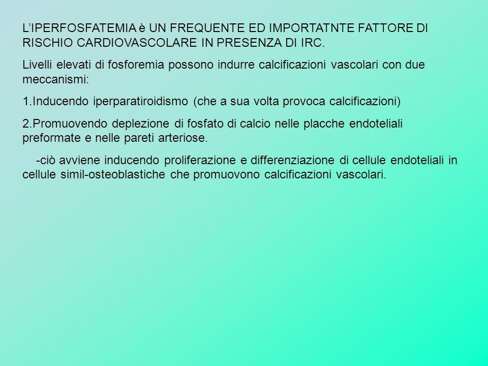 L'IPERFOSFATEMIA è UN FREQUENTE ED IMPORTATNTE FATTORE DI RISCHIO CARDIOVASCOLARE IN PRESENZA DI IRC.