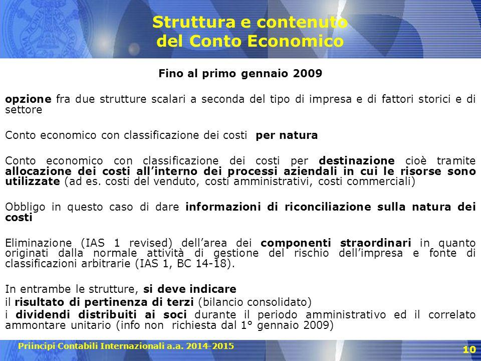 Struttura e contenuto del Conto Economico