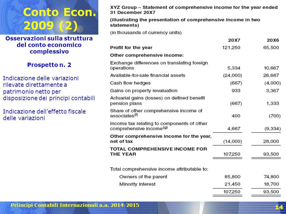 Osservazioni sulla struttura del conto economico complessivo