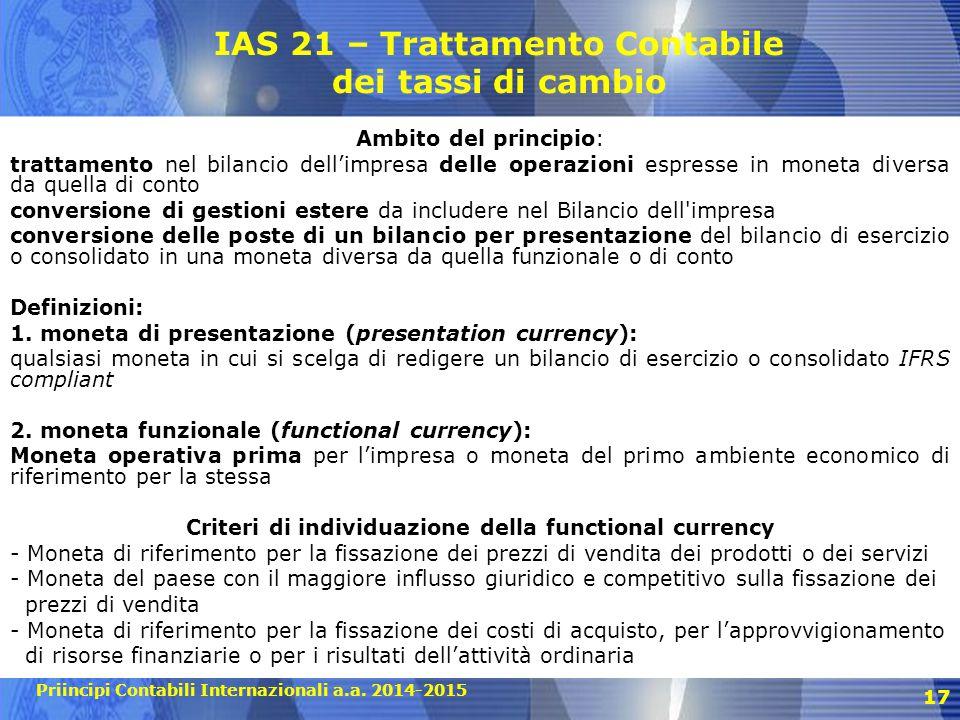 IAS 21 – Trattamento Contabile dei tassi di cambio