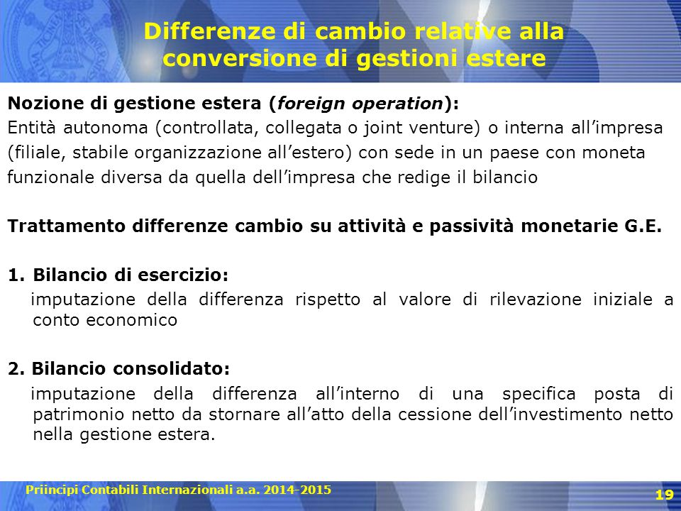 Differenze di cambio relative alla conversione di gestioni estere