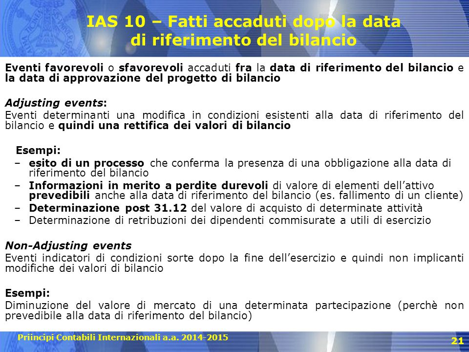 IAS 10 – Fatti accaduti dopo la data di riferimento del bilancio