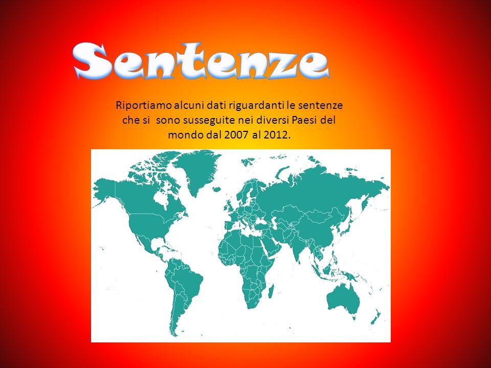 Sentenze Riportiamo alcuni dati riguardanti le sentenze che si sono susseguite nei diversi Paesi del mondo dal 2007 al 2012.