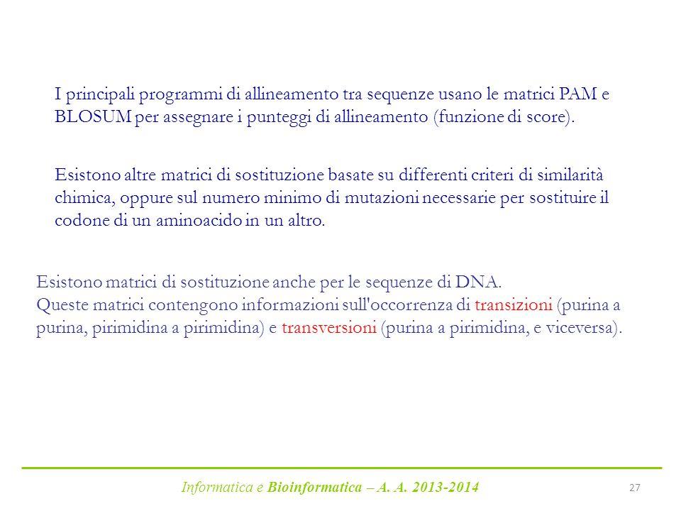 I principali programmi di allineamento tra sequenze usano le matrici PAM e BLOSUM per assegnare i punteggi di allineamento (funzione di score).