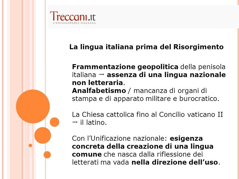 La lingua italiana prima del Risorgimento