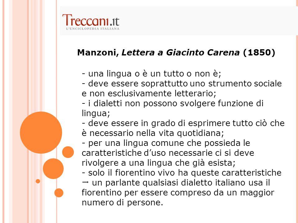 Manzoni, Lettera a Giacinto Carena (1850)