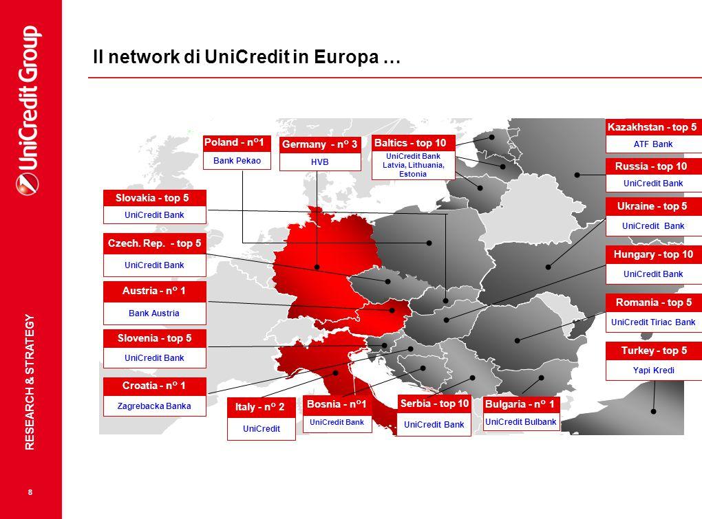 Il network di UniCredit in Europa …