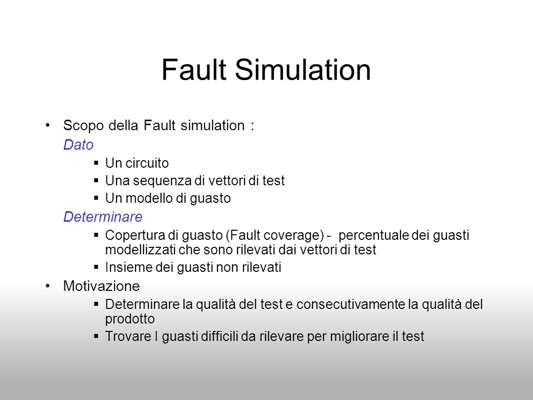 Fault Simulation Scopo della Fault simulation : Dato Determinare
