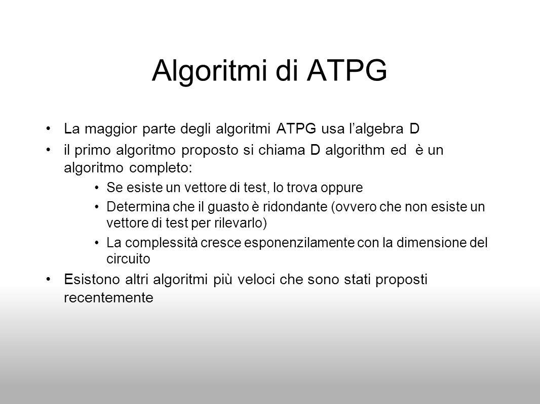 Algoritmi di ATPG La maggior parte degli algoritmi ATPG usa l'algebra D.