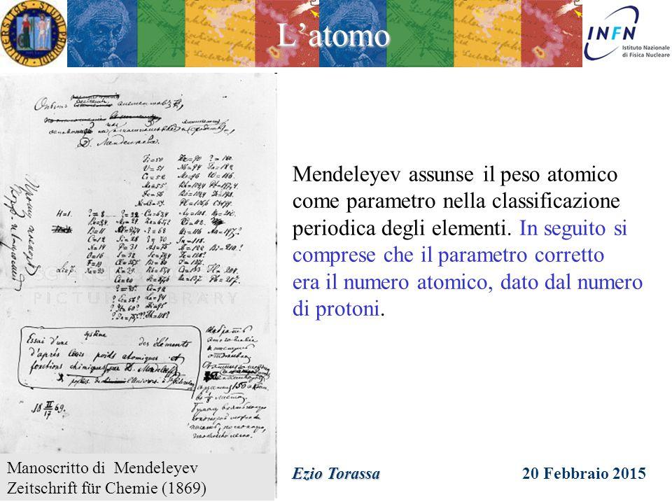 L'atomo Mendeleyev assunse il peso atomico come parametro nella classificazione.