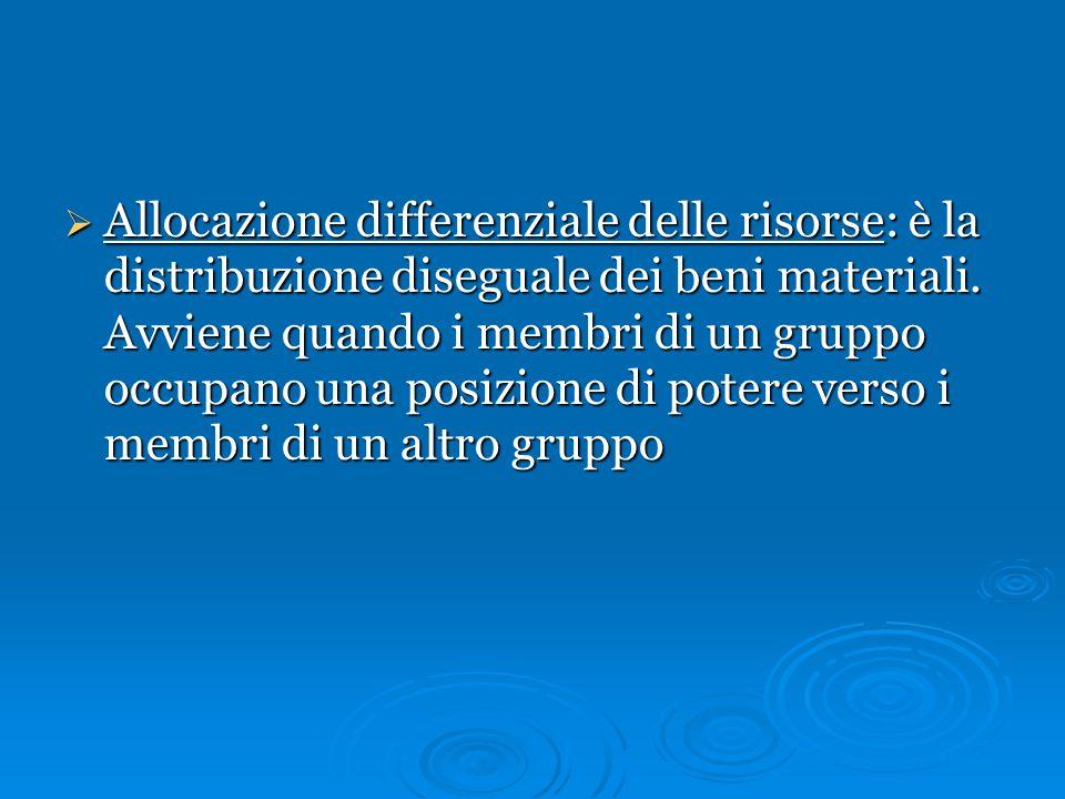 Allocazione differenziale delle risorse: è la distribuzione diseguale dei beni materiali.