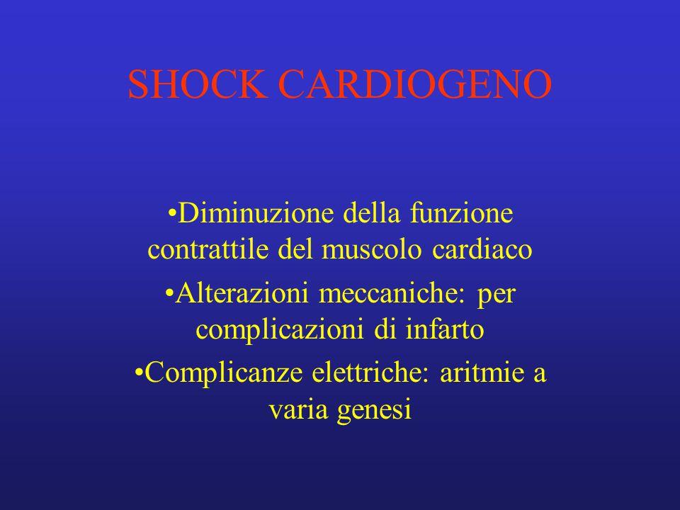SHOCK CARDIOGENO Diminuzione della funzione contrattile del muscolo cardiaco. Alterazioni meccaniche: per complicazioni di infarto.