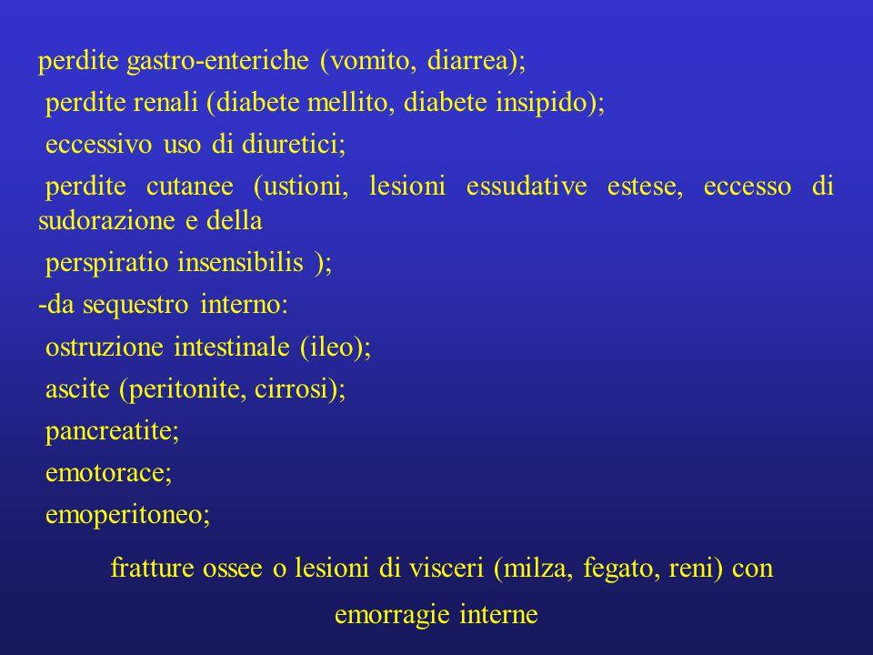 perdite gastro-enteriche (vomito, diarrea);
