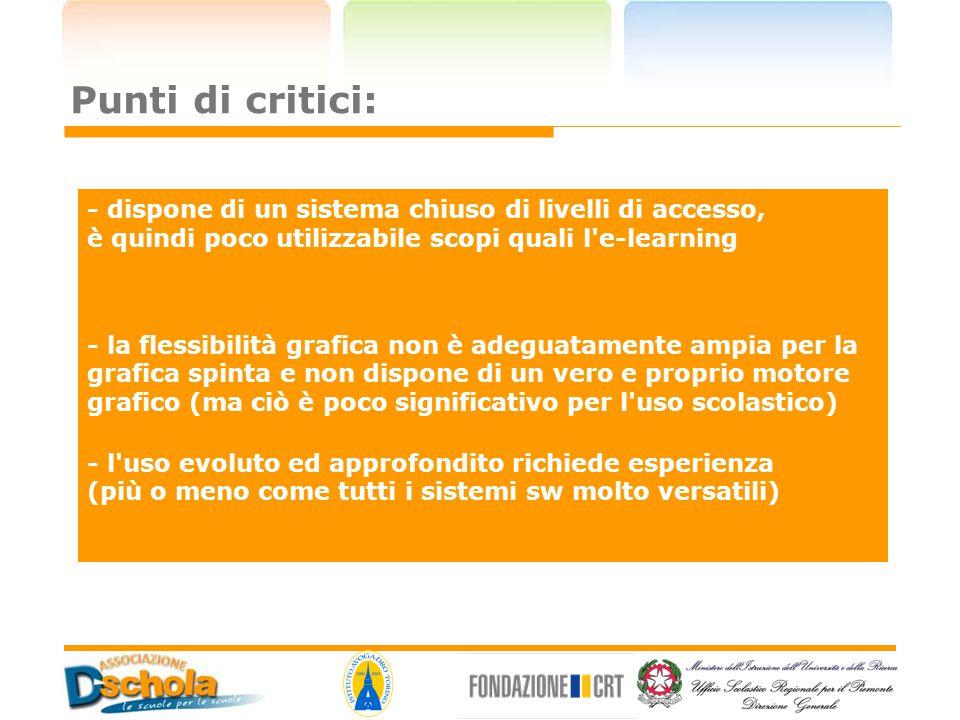 Punti di critici: - dispone di un sistema chiuso di livelli di accesso, è quindi poco utilizzabile scopi quali l e-learning.