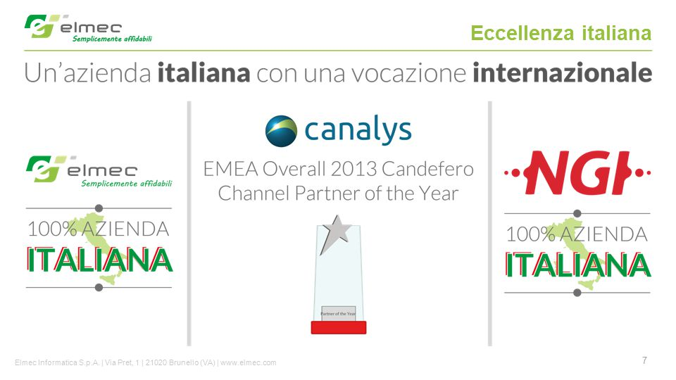 Eccellenza italiana Elmec Informatica S.p.A. | Via Pret, 1 | 21020 Brunello (VA) | www.elmec.com