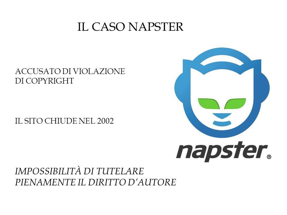IL CASO NAPSTER ACCUSATO DI VIOLAZIONE. DI COPYRIGHT.