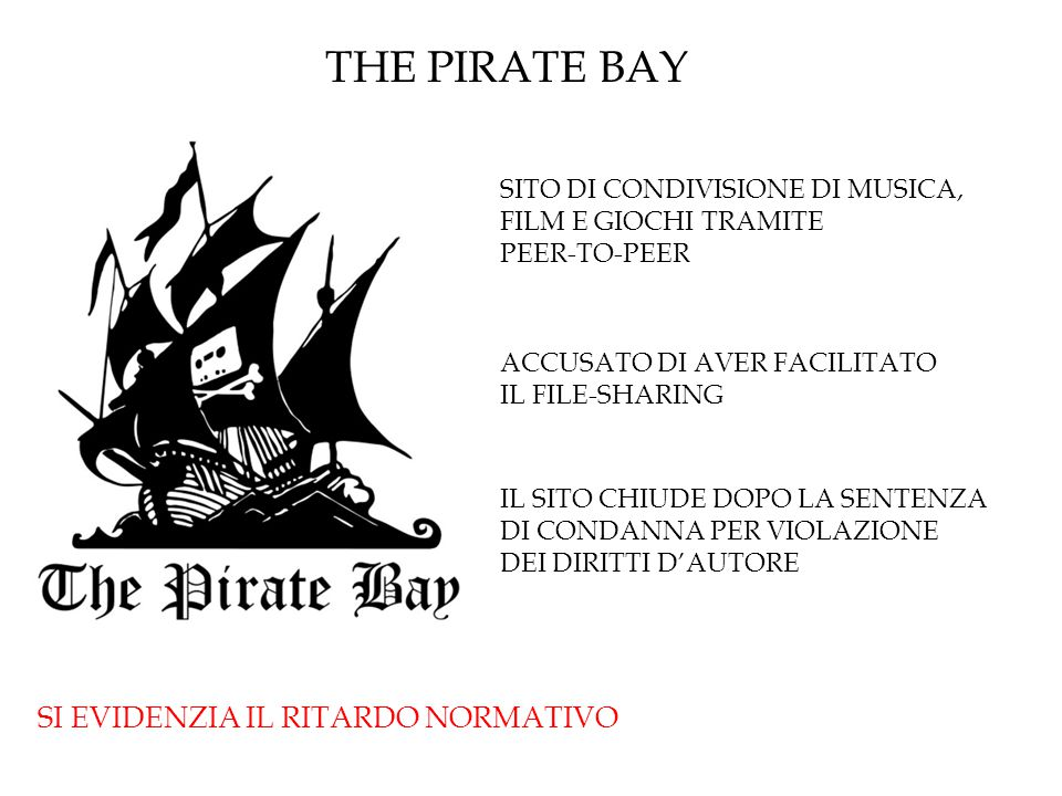 THE PIRATE BAY SI EVIDENZIA IL RITARDO NORMATIVO