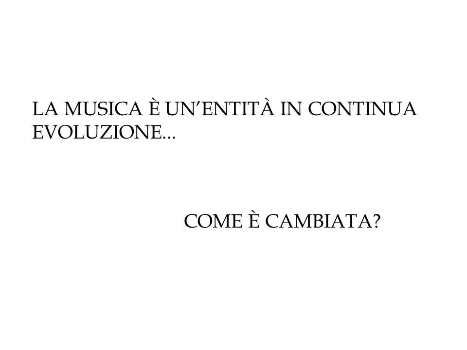 LA MUSICA È UN'ENTITÀ IN CONTINUA EVOLUZIONE...