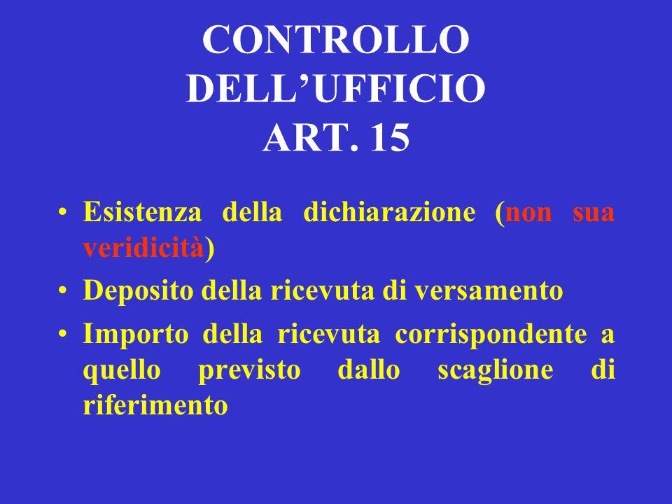 CONTROLLO DELL'UFFICIO ART. 15