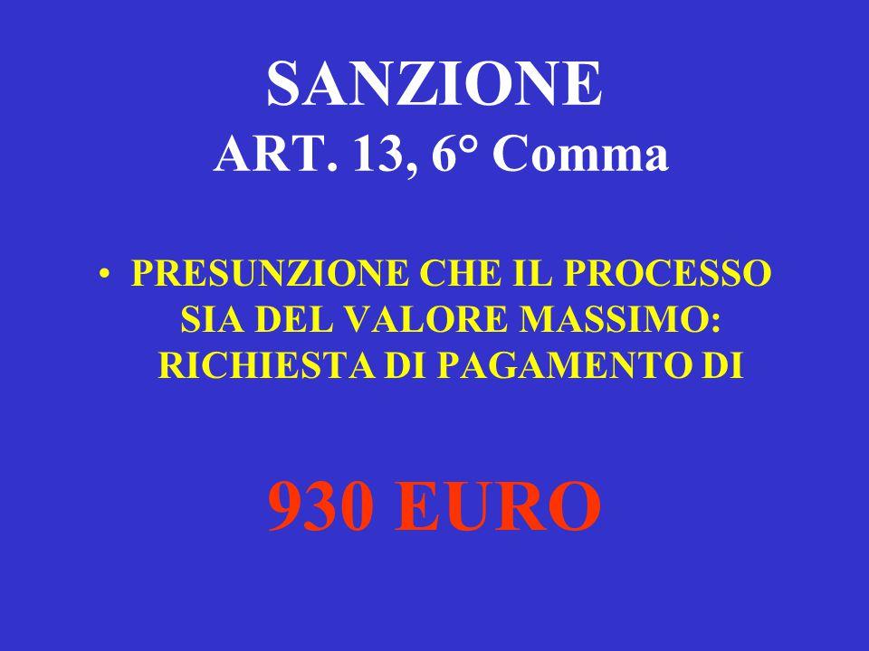 930 EURO SANZIONE ART. 13, 6° Comma