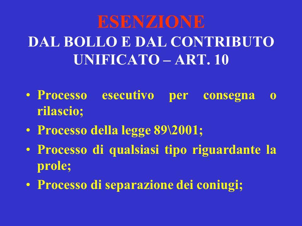 ESENZIONE DAL BOLLO E DAL CONTRIBUTO UNIFICATO – ART. 10