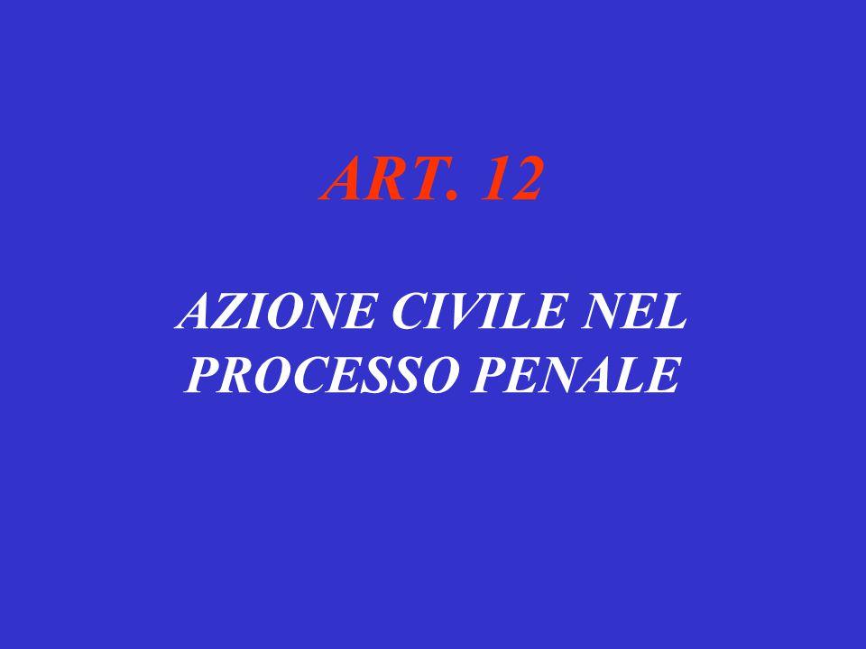 ART. 12 AZIONE CIVILE NEL PROCESSO PENALE