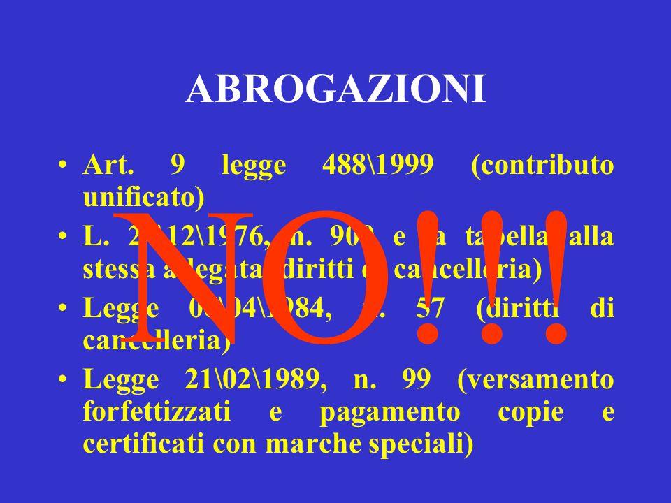 NO!!! ABROGAZIONI Art. 9 legge 488\1999 (contributo unificato)