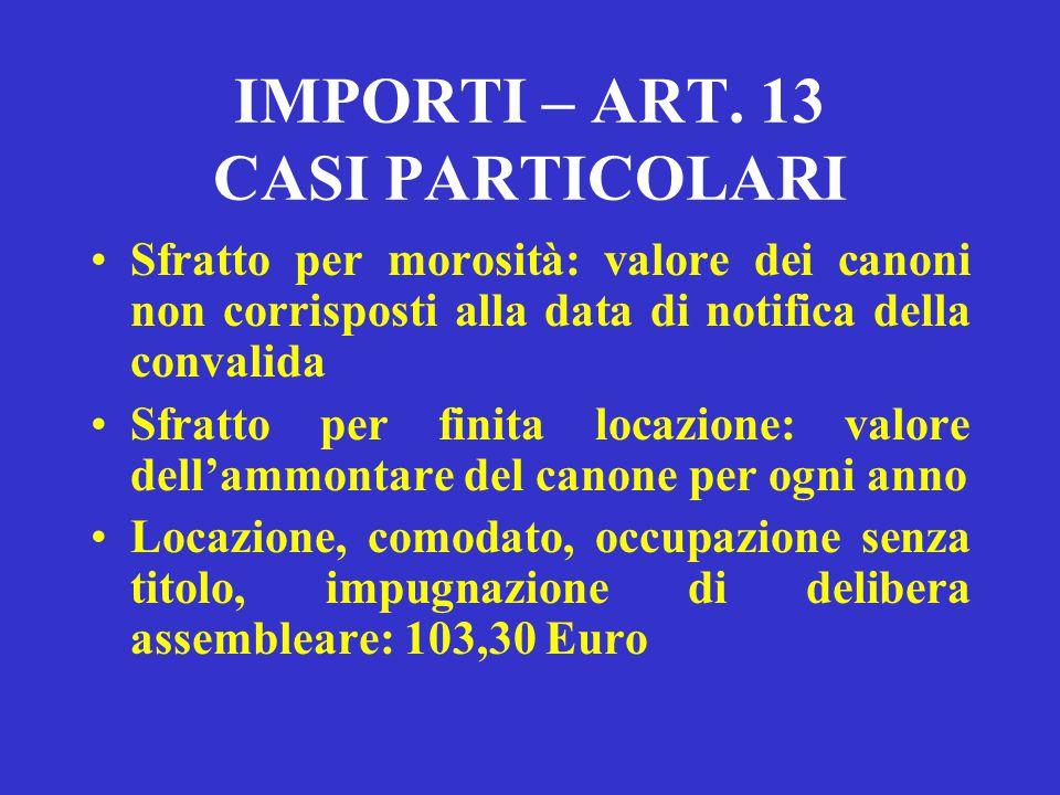 IMPORTI – ART. 13 CASI PARTICOLARI