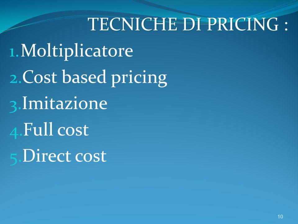 TECNICHE DI PRICING : Moltiplicatore Cost based pricing Imitazione Full cost Direct cost